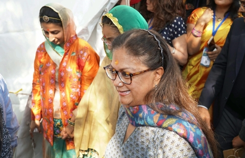 Rajasthan Chief Minister Vasundhara Raje  during the Jaipur Literature Festival 2018 at in Jaipur on Jan. 29, 2018. (Photograph: PTI)