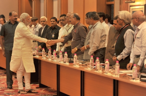 "Prime Minister Narendra Modi is introduced to the Secretaries to the Government of India,  in New Delhi on June 4, 2014. (Photograph: PIB)<a href=""https://www.facebook.com/sharer/sharer.php?u=http://pibphoto.nic.in/photo//2014/Jun/l2014060454237.jpg""><i><br></i></a>"