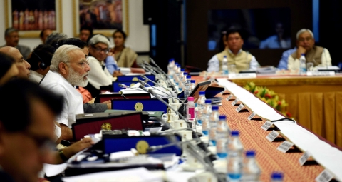 Prime Minister Narendra Modi chairs the  Governing Council Meeting of the NITI Aayog, in New Delhi, on April 23, 2017. (Photograph: PIB)