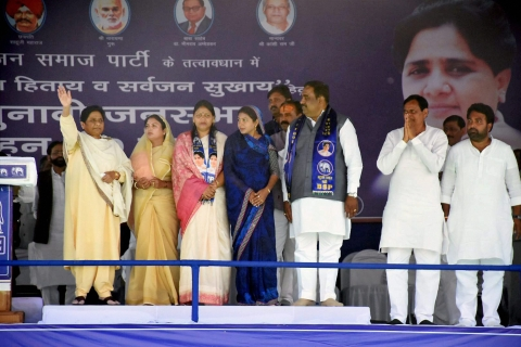 Bahujan Samaj Party president Mayawati addresses a rally in Uttar Pradesh. (Photograph: PTI)
