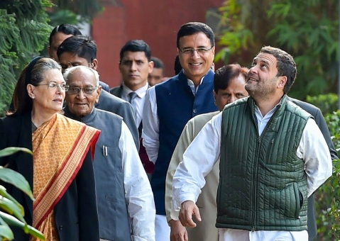 Congress President Rahul Gandhi with Sonia Gandhi and other leaders arrives to preside the party's 'Steering Committee' meeting in New Delhi on Feb. 17, 2018. (Photograph: Arun Sharma/PTI)