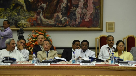 The chief ministers of Odisha, Nagaland, Puducherry, and Rajasthan, in New Delhi, on April 23, 2017. (Photograph: PIB)