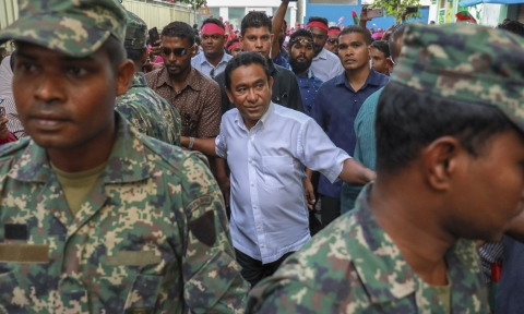 Maldivian president Yameen Abdul Gayoom, center, surrounded by his body guards arrives to address his supporters in Male, Maldives, on February 3, 2018. (Photograph: AP/PTI)