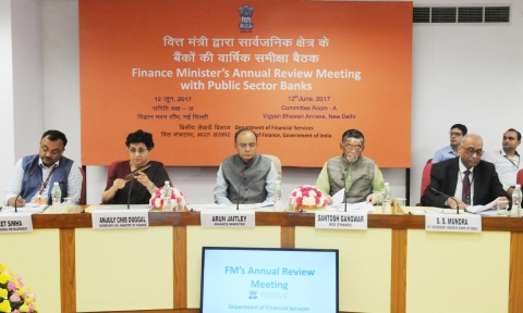 Finance Minister  Arun Jaitley chairing the meeting with the heads of public sector banks, in New Delhi on June 12, 2017. (Photograph: PIB)