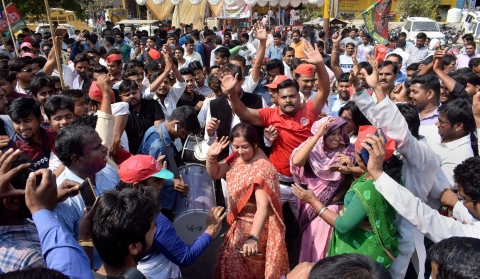 Samajwadi Party supporters celebrate their lead in Phulpur and Gorakhpur Lok Sabha by-poll election, in Allahabad, Uttar Pradesh. (Source: PTI)