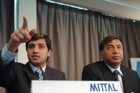 Aditya Mittal, left, and Lakshmi Mittal, chairman and chief executive of Arcelor Mittal in a file photograph. (Photographer: Antoine Antoniol/Bloomberg News)