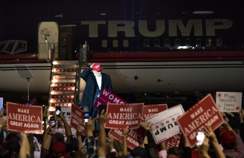 Donald Trump, then 2016 Republican presidential nominee, greets the crowd during a campaign rally in Moon Township, Pennsylvania, U.S., on Nov. 6, 2016. (Photographer: Ty Wright/Bloomberg)