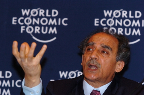 Arun Shourie, then India's minister of disinvestment,  is seen during a panel discussion at the World Economic Forum in Davos, Switzerland, January 24, 2004. (Photographer: Axel Seidemann/Bloomberg News)