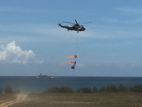 Marcos being airlifted as part of the Live demonstration at the 10th Defence Expo. (Source: PTI)