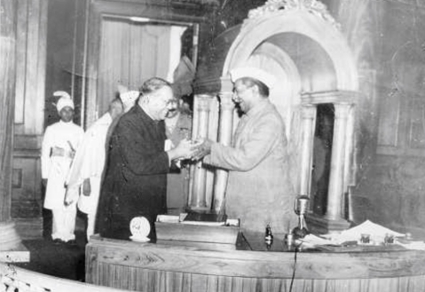 BR Ambedkar, chairman of the Drafting Committee, presenting the final draft of the Indian Constitution to Rajendra Prasad, chairman of the Constituent Assembly, on November 25, 1949. (Photograph: Dr Ambedkar Foundation / Ministry of Social Justice & Empowerment)