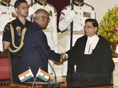 President of India Ram Nath Kovind administers the oath of office to Chief Justice of India Dipak Misra, at Rashtrapati Bhavan, in New Delhi on August 28, 2017. (Photograph: PIB)