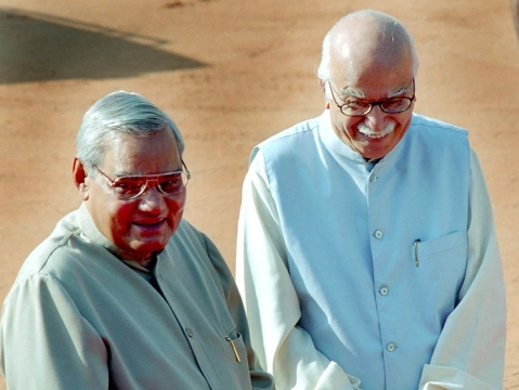 File photo of former Indian Prime Minister Atal Bihari Vajpayee and former Deputy Prime Minister LK Advani in New Delhi on October 13, 2003. (Photographer: Sondeep Shankar/Bloomberg News)