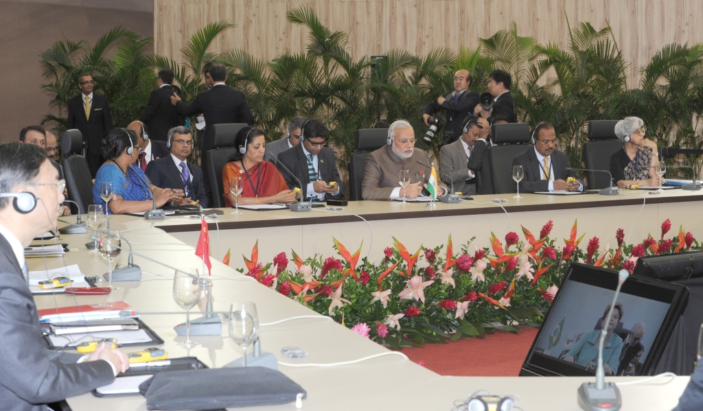 File photo of now Defence Minister Nirmala Sitharaman, Prime Minister Narendra Modi and National Security Advisor Ajit Doval meeting Chinese delegates at the Sixth BRICS Summit, in Brazil on July 15, 2014. (Photograph: PIB)