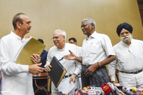 Congress leaders Ghulam Nabi Azad, Kapil Sibal, CPI's D Raja and KTS Tulsi during a press conference after opposition parties submitted a notice to the Vice President and Rajya Sabha Chairperson Venkaiah Naidu to initiate impeachment proceedings against Chief Justice of India Dipak Misra, in New Delhi on April 20, 2018. (Photograph: Kamal Singh/PTI)