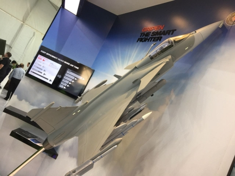 SAAB displays its Gripen-E fighter jet at the 10th Defence Expo. (Source: BloombergQuint)