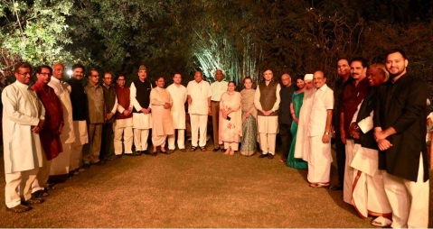 "UPA Chairperson Sonia Gandhi hosts a dinner at her residence, for regional political parties, on March 13, 2018. (Photograph: <a href=""https://twitter.com/INCIndia"">@<b>INCIndia</b></a>/Twitter)"