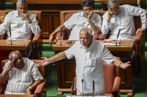 Outgoing Karnataka chief minister BS Yeddyurappa addresses the house members at Vidhana Soudha on Saturday (Source: PTI)