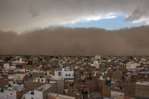 A dust storm approaches the city of Bikaner on Wednesday. (Source: PTI)