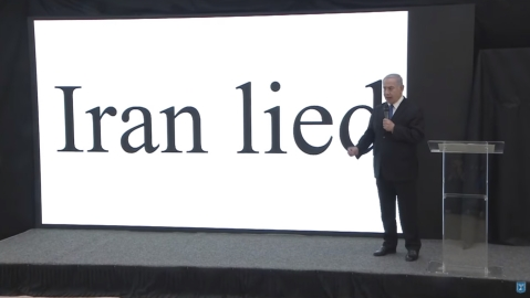 "Israel's Prime Minister Benjamin Netanyahu makes a presentation on April 30, 2018. (Image: Twitter, YouTube / <a href=""https://twitter.com/netanyahu"">@<b>netanyahu</b></a>)"