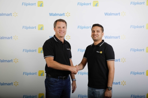 Walmart CEO Doug McMillon with Flipkart Co-Founder and CEO Binny Bansal. (Source: Company Press Release)