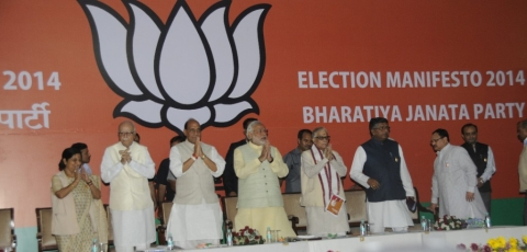 Leaders of the Bharatiya Janata Party release the Election Manifesto 20114, in New Delhi, on April 7, 2014. (Photograph: BJP website)