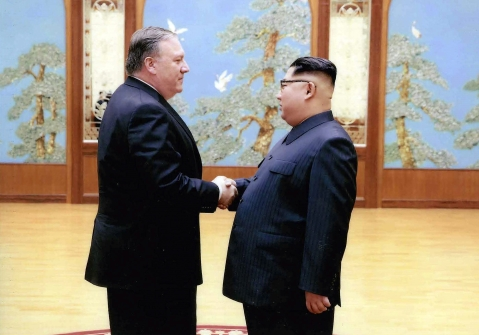 Then-CIA director Mike Pompeo shakes hands with North Korean leader Kim Jong Un in Pyongyang, North Korea, during a 2018 Easter weekend trip. (Photograph: PTI/AP)