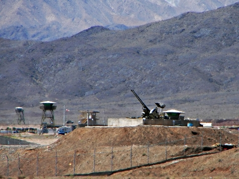 "Anti-aircraft guns guarding the Natanz Nuclear Facility, Iran, on June 22, 2006. (Image: Wikimedia Commons /<a href=""https://www.flickr.com/photos/hamed/237790717"">Hamed Saber</a>)"