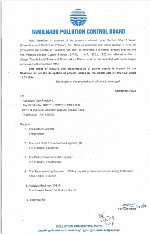 A Copy of the Tamil Nadu Pollution Board Order.