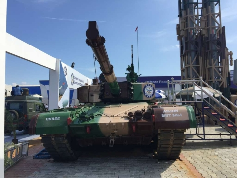 Main Battle Tank Arjun Mk-I on diplay at DRDO pavilion in the Defence Expo 2018. (Source: BloombergQuint)