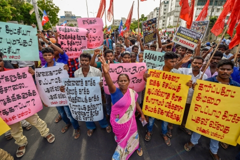 Tamizhaga Vazhvurimai Katchi members hold a demonstration condemning the police firing on protesters demanding the closure of Vedanta's Sterlite Copper unit in Tuticorin which lead to the death of 13 people. (Image: PTI)