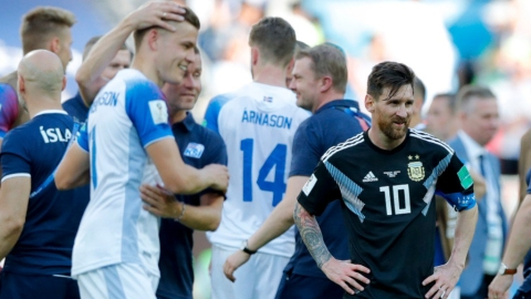 Argentina's Lionel Messi (right) stands near the Iceland players at the end of the group D match at the Spartak Stadium in Moscow on June 16, 2018. (Photograph: AP/PTI)