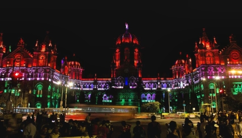 Chhatrapati Shivaji Maharaj Terminus railway station on the Independence Day eve. (Source: BloombergQuint)