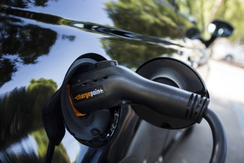 A ChargePoint Inc. charging plug sits connected to an electric vehicle  at a station in Los Angeles, California, U.S. (Photographer: Dania Maxwell/Bloomberg)