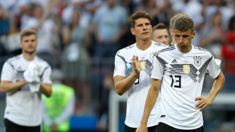 The German football team after losing its FIFA World Cup 2018 opener to Mexico on Sunday,  June 17, 2018. (Photograph: AP/PTI)