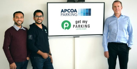 The Founders of Get My Parking Rasik Pansare and  Chirag Jain with Philippe Op de Beeck from APCOA.