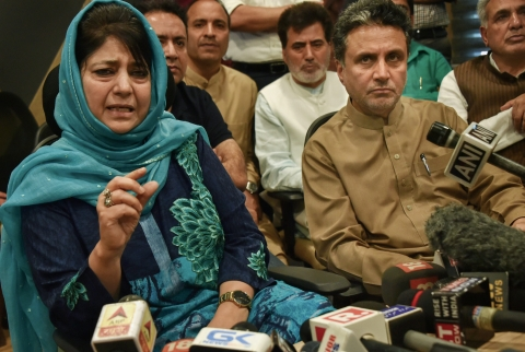 Outgoing Jammu and Kashmir chief minister Mehbooba Mufti addresses a press confrence  in Srinagar, on June 19, 2018. (Photographer: S Irfan/PT)