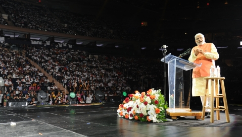 Prime Minister  Narendra Modi addressing the Indian Community, at Madison Square Garden, in New York on September 28, 2014. (Photograph: PIB)
