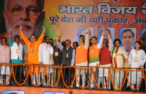 The BJP's then-Prime Ministerial Candidate  Narendra Modi addressing a rally in  Seelampur, Delhi, on March 26, 2014. (Photograph: BJP website.)