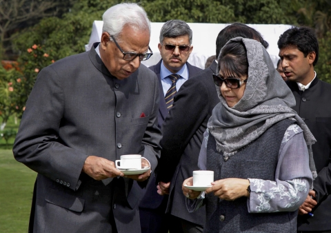 In this file photo dated February 17, 2017, J&K Governor NN Vohra is seen with Chief Minister of J&K Mehbooba Mufti after a swearing-in ceremony. (Source: PTI)