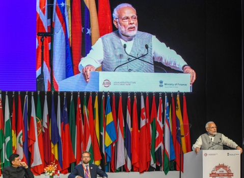 Prime Minister Narendra Modi delivers his inaugural speech for the third annual meeting Asian Infrastructure Investment Bank Forum, in Mumbai on  June 26, 2018. (Photographer: Shirish Shete/PTI)