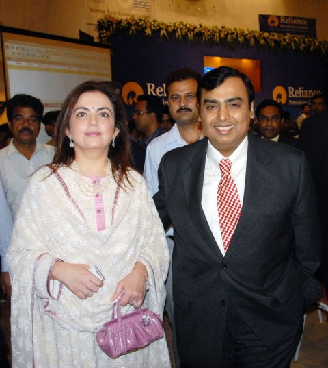 Mukesh Ambani, right, chairman of Reliance Industries Ltd., is seen with his wife Nita Ambani. (Photographer: Santosh Verma/Bloomberg News)