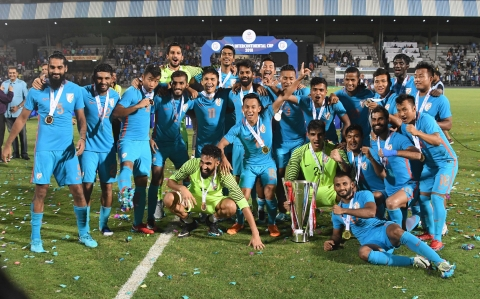 Indian team celebrate with the winning trophy after beating Kenya in final at the Hero International Cup football, in Mumbai on Sunday. (Source: PTI)