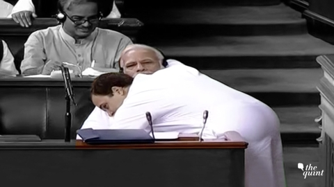Rahul Gandhi hugs Prime Minister Narendra Modi after his speech in the parliament on the day the no-confidence motion against the Modi government was debated. (Image: Lok Sabha TV)