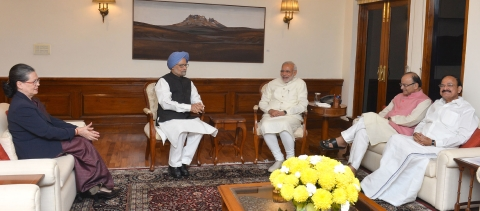 "Prime Minister Narendra Modi meeting former Prime Minister Manmohan Singh and then Congress President Sonia Gandhi, in New Delhi on November 27, 2015. (Photograph: PIB)<a href=""http://pibphoto.nic.in/photo//2015/Nov/l2015112773987.jpg""><i><br></i></a>"