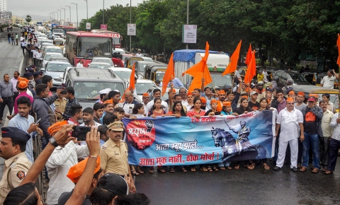 Maratha Kranti Morcha activists stage a protest during their statewide bandh called for reservations in jobs and education, at Kopar Khairane, Navi Mumbai on Wednesday, July 25, 2018. (Source: PTI)