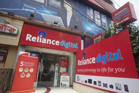 The entrance to a Reliance Digital store, in Mumbai, India, on  July 20, 2012. (Photographer: Adeel Halim/Bloomberg)