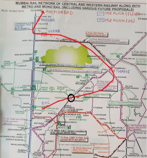 The area under contention (encircled) is considered to be prime real estate worth Rs 500 crore. (Source: National High Speed Rail Corporation Ltd.)