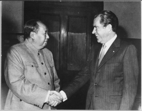 U.S. President Nixon meets with China's Communist Party Leader, Mao Ze-Dong, on February 21, 1972. (Photograph: U.S. National Archives and Records Administration)