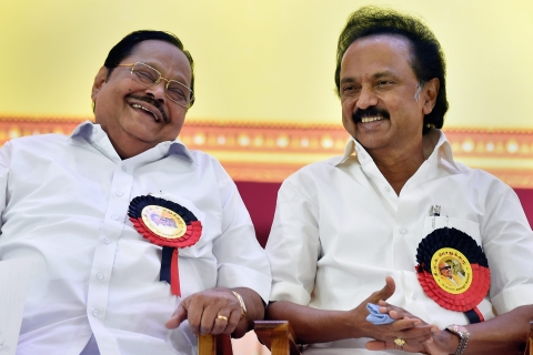 DMK Working President MK Stalin with partys treasurer Duraimurugan during the DMK General Council Meeting at Anna Arivalayam in Chennai (Source: PTI)