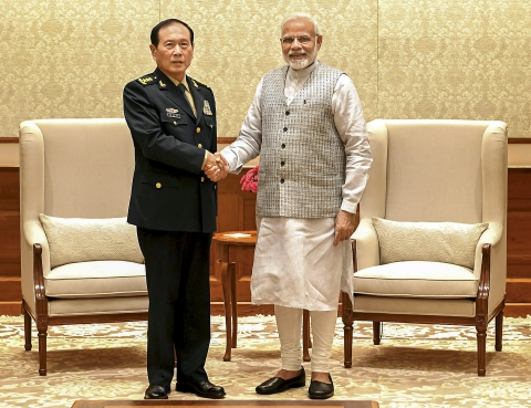 Prime Minister Narendra Modi with the Defence Minister of China, General Wei Fenghe during a meeting in New Delhi on  August 21, 2018. (Photograph: PIB/PTI)